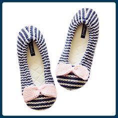 Fortuning's JDS Frauen Mädchen Damen stricken gemütliches Haus Fußbekleidung Rosa Bogen blaue Streifen bequeme Verpackung Flachform Haus Schuhe - Hausschuhe für frauen (*Partner-Link)