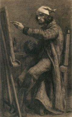 COURBET, Gustave Artist at His Easel 1847-48 Black chalk with traces of charcoal on paper, 554 x 335 mm Fogg Art Museum, Harvard University, Cambridge