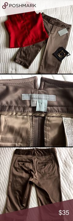 NWT Zara Woman Short Satiny Dark Khaki Trousers Looking luxe! Bought in Europe, these pants traveled to MA just for you! On target for early fall--like polished and professional, but keep your cool and show some leg. 🍁Silk-wool Talbots top and J. Crew bracelet available for sale in my closet--bracelet is $5 with purchase of any item!🍁 Zara Pants Trousers