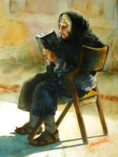 Ol Woman Reading in a Chair, Onnalee Graham / Th I Love Books, Good Books, Books To Read, My Books, People Reading, Book People, Reading Art, Woman Reading, Reading Books