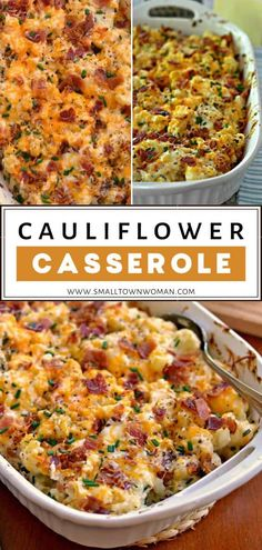 Loaded Cauliflower Casserole is steamed cauliflower combined with cream cheese, sour cream, sharp cheddar, Monterey Jack, bacon and chives. Side Dishes For Ham, Easter Side Dishes, Side Dish Recipes, Main Dishes, Dishes Recipes, Easter Dinner Recipes, Healthy Dinner Recipes, Sides For Easter Dinner, Gourmet