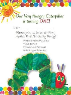 Very Hungry Caterpillar Birthday Invitations – FREE Printable Birthday Invitation Templates – Bagvania Very Hungry Caterpillar Printables, Hungry Caterpillar Invitations, Hungry Caterpillar Party, Caterpillar Book, Leo Birthday, First Birthday Parties, First Birthdays, Birthday Ideas, Family Birthdays