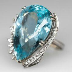 Estate 1950's Aquamarine Cocktail Ring Diamond Accents 18K White Gold $7,999.00