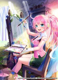 Anime picture with vocaloid uni (vocaloid) shoonear (artist) long hair single tall image blush blue eyes looking at viewer open mouth highres pink hair sitting ponytail girl headphones paintbrush Loli Kawaii, Kawaii Anime Girl, Anime Girls, Manga Girl, Pretty Anime Girl, Beautiful Anime Girl, I Love Anime, Vocaloid, Manga Font