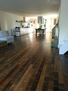 Bamboo floor. replenishable resource, can stain any color and durable! PERFECT flooring. -I love the variation in color.