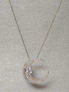 Colette - 18k Half Moon Diamond Pendant Necklace - at - London Jewelers