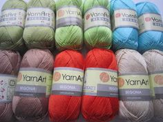 Nice and soft mercerized cotton. Perfect for summer knit and crochet. Yarn is made in Turkey Crochet Shawls And Wraps, Summer Knitting, Begonia, Crochet Yarn, Twine, Free Pattern, Projects To Try, Crochet Patterns, How To Make