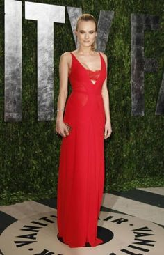 Diane Kruger red lace Calvin Klein 2012 Vanity Fair party