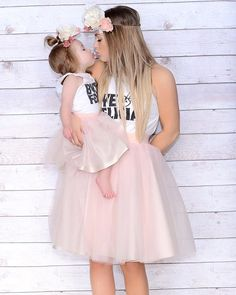 Mommy and Me.. Mommy and Me tulle skirts in blush