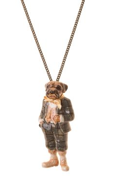 """A hand painted porcelain Mr Border Terrier gentleman in fashionable country attire. Our Mr Border Terrier is available on a 24"""" or 28"""" antique brass, go..."""