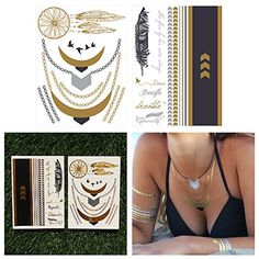 Metallic Gold Black and Silver Jewelry Temporary Tattoo Pack - Egyptian Goddess - (Set of Hipster Jewelry, Hipster Accessories, Fashion Accessories, Metal Jewelry, Silver Jewelry, Jewlery, Pop Punk Fashion, Tattoo Designs, Metal Tattoo