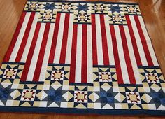 Quilt of valor quilt. 'Three Tours' quilt. Red white and blue quilt