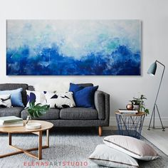 living room inspiration grey sofa argos furniture sets how to style a front porch seascape painting art abstract large wall canvas blue turquoise horizontal sea artc
