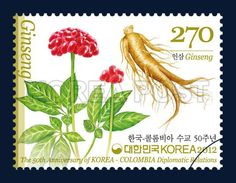 The 50th Anniversary of Korea - Colombia, ginseng, commemoration, white, red, green, 2012 3 9, 한국-콜롬비아 수교 50주년 기념우표, 2012년 3월 9일, 2850, 인삼, postage 우표