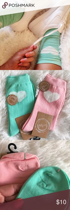 NEW 💘 HEART ANKLET  SOCKS | ONE PAIR | OSFM NEW NEVER USED & SO COZY CUTE 💘  These SUPER SOFT ANKLET socks take your shoes to the next level of COZY. So cute with your favorite Jeffrey Campbell wedges AND your most classic Nikes!   This LISTING IS FOR ONE PAIR OF SOCKS (MINT OR PINK).   I also have a bundle listing available BOTH PAIRS FOR $15.   ONE SIZE FITS MOST (6-10 women)    Ships same or next day from my smoke free home.   Priced firm. Bundle items to save. ✨  Not JEFFREY CAMPBELL…