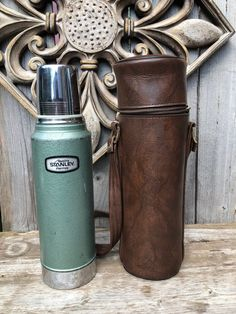Excited to share this item from my shop: Aladdin Stanley Thermos with Leather Carrying Case Vintage Thermos 32 ounces Metal Vintage Camping Outdoor Sports Coffee Stanley Thermos, Tennessee Usa, Bottle Holders, Go Camping, Bushcraft, Vintage Leather, Food Storage, Etsy Vintage, Outdoor Gear