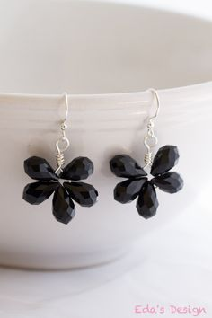 Gorgeous Black Crystal and Sterling Silver Earrings by EdasDesign