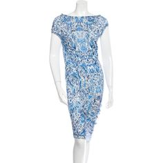 Pre-owned Alexander McQueen Wool Printed Dress ($295) ❤ liked on Polyvore featuring dresses, blue, pattern dress, preowned dresses, blue cowl neck dress, cowl neck dress and blue wool dress