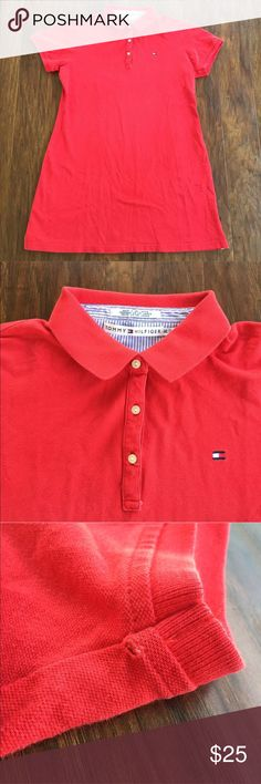 Tommy Hilfiger Red Shirt Dress Size XL This dress has one tiny hole on the underside of one sleeve, but otherwise is in excellent condition. 94% cotton, 6% spandex. Size XL- measurements are shown in photos.  trades  D131 Tommy Hilfiger Dresses Midi