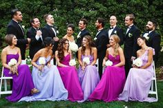 Watercolor Inspired Purple Bridesmaid Dresses | Image by Michael Anthony Photography