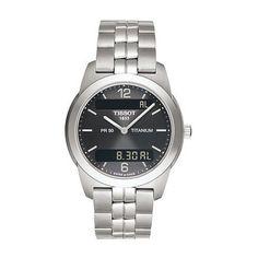 Tissot Men's T34748762 T-Classic PR50 Analog-Digital Titanium Watch Tissot. $292.99. Quartz movement with analog and digital display. 24 hour display option. Water-resistant to 165 feet (50 M). Sapphire crystal. Save 41%!