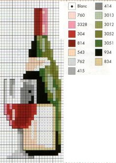 Wine and Glass in Cross Stitch