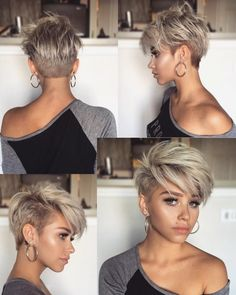 pixie hairstyles Rocking a short, pixie hairstyle takes guts, but the payoff is worth it. On top of being totally chic, pixie cuts tend to be no-muss, no-fuss meaning they can save yo Popular Short Haircuts, Cool Short Hairstyles, Cute Short Haircuts, Trending Hairstyles, Bob Hairstyles, Haircut Short, Bob Haircuts, Edgy Pixie Haircuts, Short Bangs