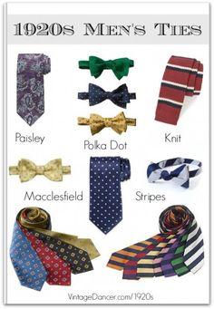 Classic men's 1920s necktie and bowtie patterns and colors at VintageDancer.com