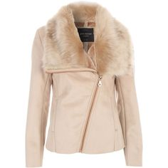 Jane Norman Beige Bonded Fur Collar Jacket ($100) ❤ liked on Polyvore featuring outerwear, jackets, beige, women, faux fur collar jacket, fur collar jacket, jane norman, long sleeve jacket and asymmetrical zip jacket