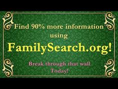 Break through walls using familysearch.org! - YouTube Genealogy Websites, Family Search, Dna Test, Search Engine, Education, Walls, Photoshop, Facebook, History