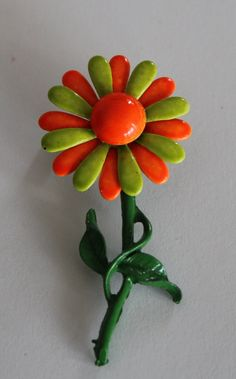 Vintage mod orange and green daisy enamel by purrfectstitchers, $9.00