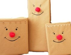 New Nostalgia: My Favorite Christmas Gift Wrapping Ideas (Brown paper, red pom-poms, and a black marker. Easy-peasy!)