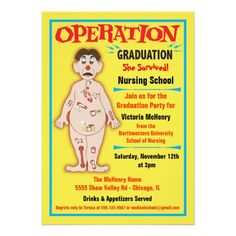 Medical or Nursing School Graduation Invitation http://www.zazzle.com/medical_or_nursing_school_graduation_invitation-161359723448425633?rf=238588924226571373