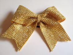 Luxury Rhinestone Yellow/Gold Cheer Bow on Etsy, $15.00