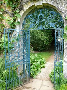 """""""Paint Colors for Iron Gates and Fences"""" by Kendra Wilson . This glorious gate is in the garden at Rousham, near Oxford. """"The color used here is Prussian blue. Such a color is found occasionally on century ironwork. Garden Gates And Fencing, Fence Gate, Garden Path, Cacti Garden, Shade Garden, Garden Entrance, Garden Doors, Entrance Gates, Garden Archway"""