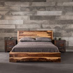 The modern, low profile design of this bed has charming details that create a huge presence. The sleek, linear structure of the Romy Bed allows the unique wood grain pattern in the thick slabs of Indian rosewood to really stand out. Discover more unique beds and other treasures at www.artemano.ca