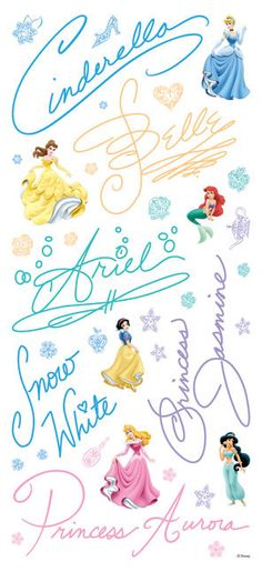 Disney Princess Stickers Disney Princess Signatures by iluvdesign, $2.55