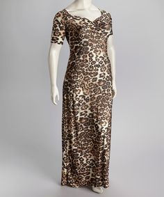 IB Diffusion Brown Plus-Size Maxi Dress