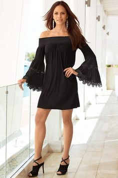 Smocked flare-sleeve dress