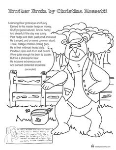 Brother Bruin By Christina Rossetti Coloring Page Poem