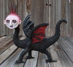 OOAK hand made monster fantasy dragon art by chrisandrescreations
