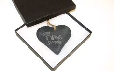Shh Twins Sleeping Slate Heart Hanging Slate, Mothers, Personalized Gifts, First Love, Twins, Unique Gifts, Heart, Chalkboard, Customized Gifts