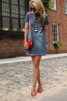 Denim + Red #street #style