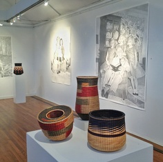 Baskets by Kari Lønning, with graphite drawings by Susan White at the Sivermine Arts Center