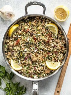 Greek Turkey and Rice Skillet is an easy and flavorful ground turkey recipe that cooks in one skillet for maximum flavor and minimum effort. Cooking Recipes, Healthy Recipes, Cooking Blogs, Cooking Rice, Girl Cooking, Cooking Supplies, Cooking Salmon, Healthy Meals, Healthy Eating