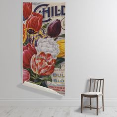 'Mayflower Tulips' Wallpaper Mural from the New York Botanical Garden collection. Wall Murals, Wall Art, The V&a, May Flowers, Botanical Gardens, Tulips, Bloom, Cushions, Tapestry