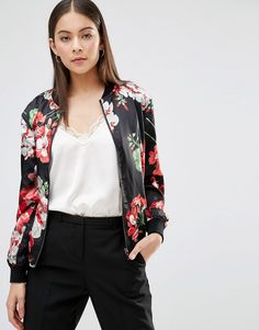 Parisian+Bomber+Jacket+In+Floral+Print
