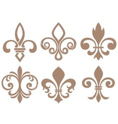 Illustration of fleur de lys symbol vector art, clipart and stock vectors. Tattoo Fleur, Stencils, French Pattern, Geniale Tattoos, Vector Art, Illustration, Tatting, Clip Art, Embroidery