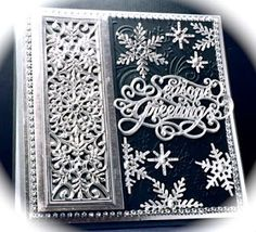 Cards by America, Christmas, Holidays, Snowflake, Mini Striplet, Seasons Greetings, Craft Dies, Cutting Dies, Die Cuts, Sue Wilson, Creative Expressions, Snowflakes, Snow, Winter, Black and Silver, www.cardsbyamerica.blogspot.com/
