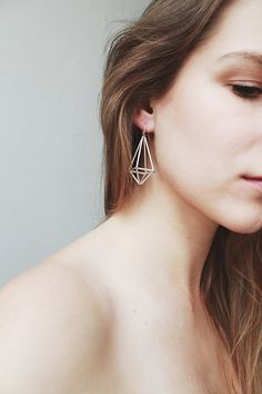 Himmeli inspired geometric earrings, dangle earrings in silver tone